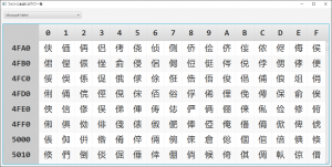 Microsoft YaHeiのU+4FDEは存在する
